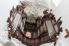Organ at the Oliwa Cathedral in Gdansk. Great Oliwa organ at the Oliwa Archcathedral in Gdansk, Poland, viewed from below Stock Image