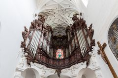 Organ at the Oliwa Cathedral in Gdansk. Great Oliwa organ at the Oliwa Archcathedral in Gdansk, Poland, viewed from below Royalty Free Stock Image