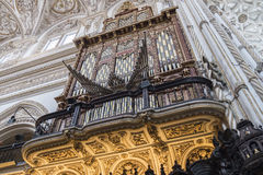 Great organ inside the Cathedral of Cordoba Mosque, Spain Royalty Free Stock Image