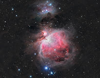 The Great Orion Nebula. In the constellation Orion with natural color plus hydrogen alpha royalty free stock photography