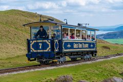 Great Orme Tramway. LLANDUDNO, WALES - APRIL 14th, 2018: The Great Orme Tramway taking passengers to the summit station. It is the only surviving cable operated Stock Photos