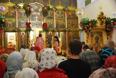 Service in the Orthodox Church. Easter. Great Orthodox holiday Easter. Service in the cathedral of Vladivostok. Russia stock photography