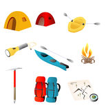 The great outdoors. Various objects representative of the great outdoors, including tents, rafting, backpacks, etc stock illustration