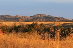The Great Outdoors. Natural beauty along the prairies and rock formations of the Wichita Mountains National Wildlife Refuge located in Indiahoma, Oklahoma 2018 Stock Image