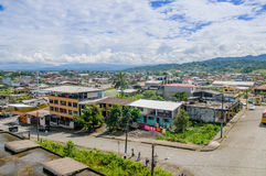 Great overview showing the city of Tena from above, located in Ecuadorian amazon region.  Stock Image