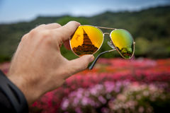 Great Pagoda in Doi Inthanon in the reflection glasses Stock Images
