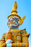 Great Palace in Bangkok. Temple guard in the Kingspalast - Great Palace in Bangkok Stock Photo