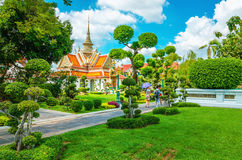Great Palace Buddhist temple and green tree garden stock photography