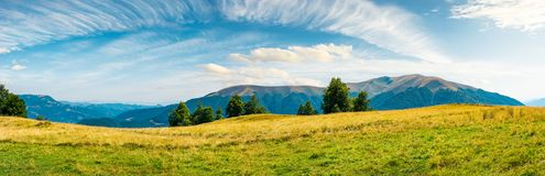 Great panorama of mountainous landscape. Gorgeous cloudscape above wide grassy meadow. mountain ridge with alpine meadows in the distance. wonderful sunny day royalty free stock photography