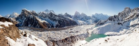 Great panoramic landscapes of the Himalayas in the Khumbu Valley. In Nepal Royalty Free Stock Images
