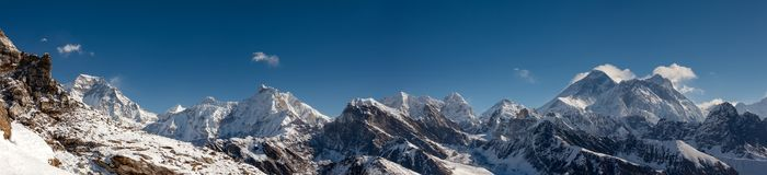 Great panoramic landscapes of the Himalayas in the Khumbu Valley. In Nepal Stock Photos