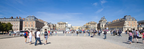 Great panoramic of Versailles Chateau from the ent royalty free stock photo