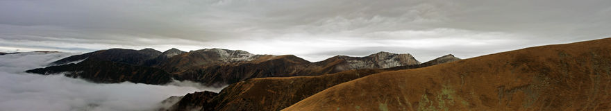 Great panoramic view from above the mountains Stock Photo