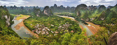 Great panoramic view of guilin Scenery Royalty Free Stock Photography