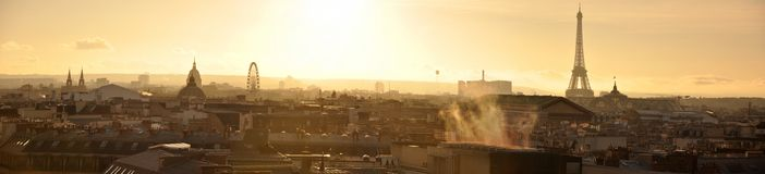 Panoramic View of Paris seen from Rooftops at Sunset stock photography