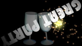 Great party banner, animation with two wine glasses in 3d design, moving inscription and fiery sparks stock video footage