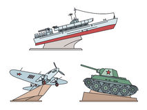 Great Patriotic War Monuments. Vector illustration. Great Patriotic War Monuments. Torpedo boat GP-123, Airplane il-2, Tank T-34. Vector illustration Royalty Free Stock Photography