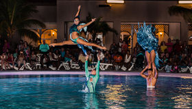 Great performance of hotel entertainment team at night spectacular water show Royalty Free Stock Images