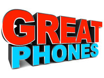 Great phones. Words on white background. Concept of best phone selection Vector Illustration