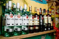 Many bottles of rum `BACARDI` Royalty Free Stock Photos