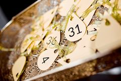 Photo of lottery numbers on the tray Stock Images