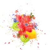Artfully and lovingly designed fruit explosion with raspberries, blackberries, strawberries, kiwis, lemon and water vector illustration