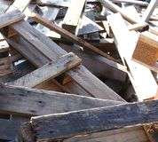 Great pile of wooden pallets piled in a landfill Royalty Free Stock Images