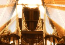 The great pipe organ at the United States Air Force Academy Chapel. An historic and amazing pipe organ at the church or chapel of the Air Force Academy in Royalty Free Stock Photography