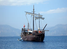 Great pirat ship in sea (in Tu Royalty Free Stock Photo