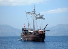 Great pirat ship in sea (in Tu royalty free stock photo