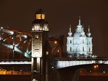 Great Piter bridge and cathedral Royalty Free Stock Photo