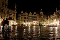 Great Place of Brussels at Night Royalty Free Stock Photo