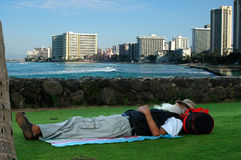 Great Place To Nap. Napping at Waikiki stock images