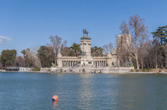 The Great Pond on Retiro Park in Madrid, Spain. Royalty Free Stock Photography