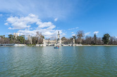 The Great Pond on Retiro Park in Madrid, Spain. Royalty Free Stock Photos
