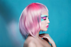 Great Profile of Sexy Girl with Creative Face Art Trendy Makeup Stock Image