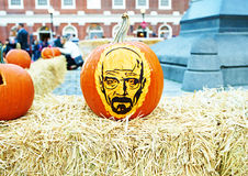 Great Pumpkin Party. BOSTON, USA - OCTOBER 26: Great Pumpkin Party, halloween festival of creative pumpkins at street. Pumpkin with Walter White/Heisenberg, the Royalty Free Stock Photo