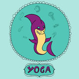 Great purple cartoon shark doing meditation with sea animals. Shark yoga pose. For kids book, yoga studio, yoga class Stock Photo