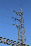 Great pylon of high voltage cables with tempered glass insulator Stock Photography