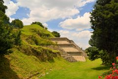 Great pyramid above Cholula with church Stock Image