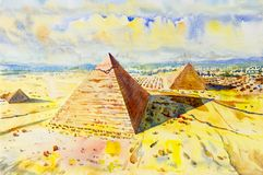 The Great pyramid with desert in Giza, Egypt. Hand drawn watercolor painting landscape.  The Great pyramid with desert in Giza, Egypt,  Illustration art,  top Stock Images