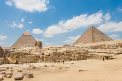 The pyramid of Khafre, Khufu and the Great Sphinx of Giza royalty free stock photo