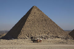 The Great Pyramid at Giza, Egypt. The Great Pyramid of Giza is the oldest and largest of the three pyramids in the Giza. It is the oldest of the Seven Wonders of Royalty Free Stock Image