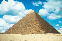 Great Pyramid of Giza, Egypt. Bright blue sky and nice clouds Royalty Free Stock Photography