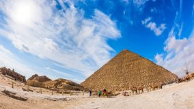 Great Pyramid in Giza, Egypt. Photo taken with fisheye lens on a sunny day in december Stock Photography