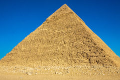 The Great Pyramid of Giza. The is a picture on a very clear blue sky day of one of the seven ancient wonders of the world, The Great Pyramid of Giza stock photos