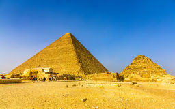 The Great Pyramid of Giza and smaller Pyramid of Henutsen Stock Image