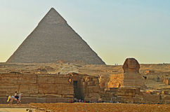 Great Pyramid of Giza and the Sphinx Royalty Free Stock Photos