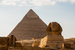 Great Pyramid and Great Sphinx stock images