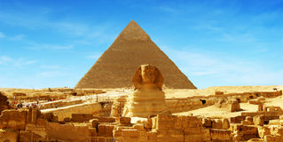 Great Pyramid - Panorama Giza, Egypt. Panorama of the Sphinx and the great Pyramid at Giza in Egypt Stock Image